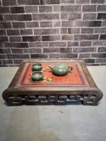 乾隆年制楠木大漆镂空茶台,做工精美,年代感十足,木料纹路清晰保存完好
