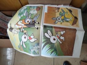教学挂图--小白兔和小灰兔2张