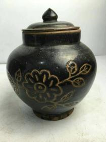 民国时期黑釉茶叶罐完整品相如图入手使用
