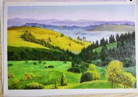 朝鲜油画 一级画家 高银姬画  山水画
