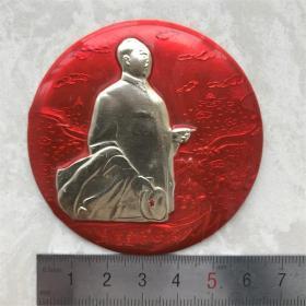 红色纪念收藏文革时期毛主席像章胸针包老物件真正品向右看视察