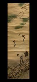 日本回流老字画《民国细绢松鹤图 茶道书房客厅挂轴挂画 真迹包老