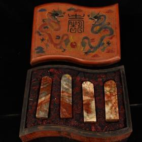 珍藏清代老纯手工雕刻天然寿山石印章一套