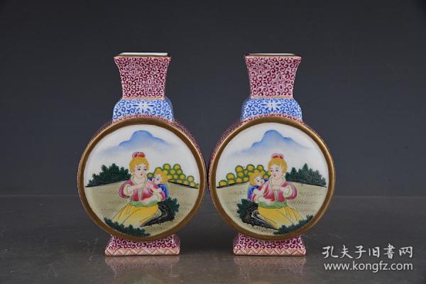 清雍正琺瑯彩西洋人物紋扁瓶。