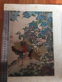 ※伊藤若冲※雄鸡图※1926年限量发行高级套色木版画※