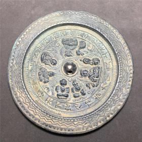 古玩老铜器古董收藏古铜镜青铜镜花纹童子铜镜仿古工艺摆件镇宅