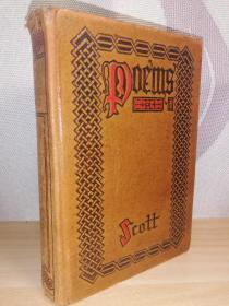 1921年  THE POETICAL WORKS OF SIR WALTER SCOTT  BY ROBERTSON  全皮装帧  书顶刷金  19.2x13.2cm