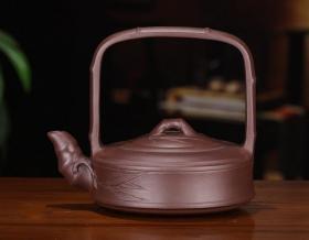 【正品保证】宜兴紫砂壶名家实力派艺人手工功夫茶壶竹节提梁壶