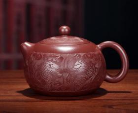 【正品保证】宜兴紫砂壶名家国家工艺美术师手工功夫茶壶盘龙纹西施壶