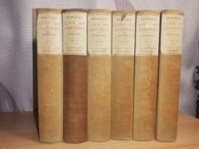 1896年  BOSWELLS LIFE OF JOHNSON  BY AUGUSTINE BIRRELL  6本全  毛边本  每本均有一副藏书票  17.8X12CM