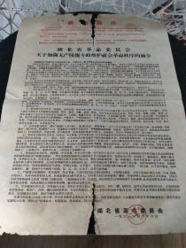 文革大字报:1968年4月16日  湖北省革命委员会发的通令   有印章    2开