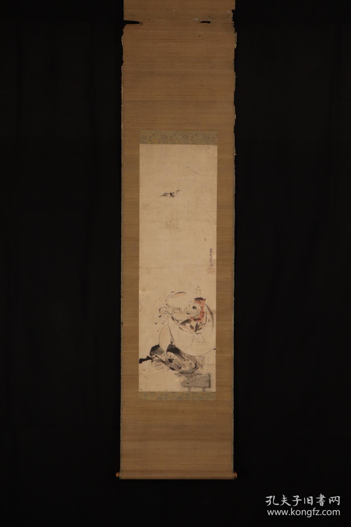 佚名老画《福禄寿》;日本回流字画 日本回流书画