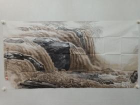保真书画,北京画院著名画家赵志田四尺整纸68×136cm国画《黄河》一幅,展览作品