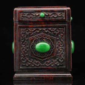 珍藏老纯手工雕刻镶嵌宝石红木茶叶罐