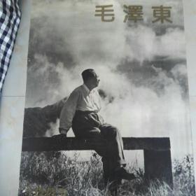 旧藏老挂历1993年毛泽东观赏中国古代书画