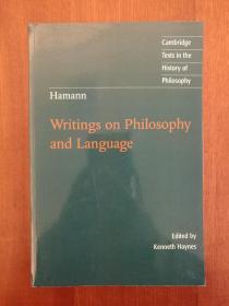 Hamann: Writings on Philosophy and Language (进口原版,国内现货)