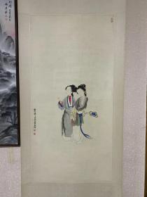 旧藏民国老画:民国徐操《二美图》,61*126,精细入微,吹弹可破。确保手绘老旧作品。