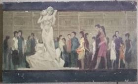 当代著名油画家方文布面油画《盐都牧羊女》一幅(保真)
