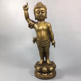 开光纯铜太子佛指天指地释迦牟尼佛一尊居家供奉摆件