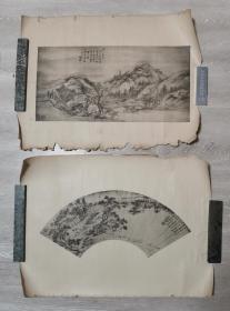 民国珂罗版画页7张,上海神州国光社、有正书局出版