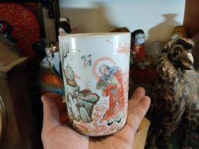 禅宗文化:敬禅罗汉观书笔筒,民国江西瓷业公司,全品无损。