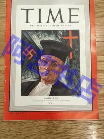 """【现货】时代周刊杂志 Time Magazine, 1940年,二战特别报道,封面 """"德国牧师马丁·尼莫拉"""",其经典名言""""起初他们追杀共产主义者,我不是共产主义者,我不说话;接着……,此后……,再后来……;最后,他们奔我而来,再也没有人站起来为我说话了""""。珍贵史料!"""