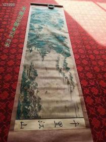 """旧藏   民间偶得绢布名人""""孙枝""""手绘丝绸长卷""""千里江山"""",画风优雅,保存完整,成色如图"""