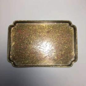 古玩收藏老物件纯铜黄铜盘子茶盘果盘礼品摆件