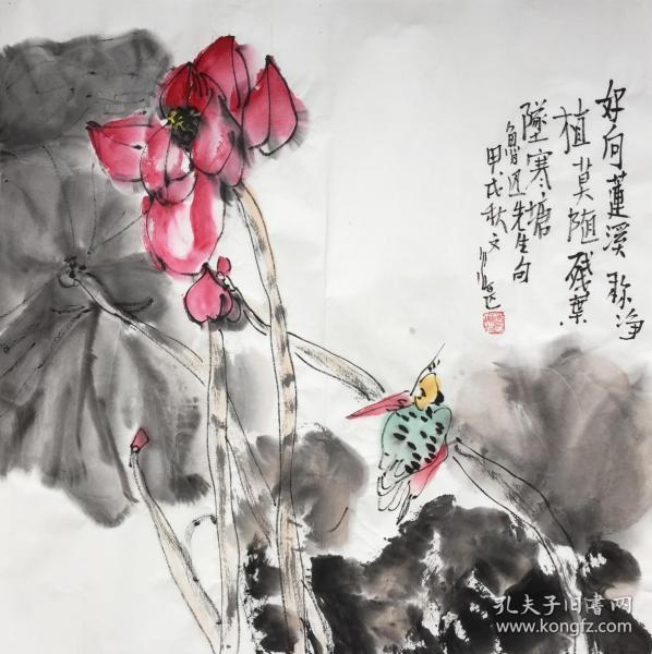 ◆【顺丰包邮】、【江文湛】西安中国画院副院长、一级美术师、中国美协会员、手绘四尺斗方花鸟画(68*68CM)2买家自鉴.