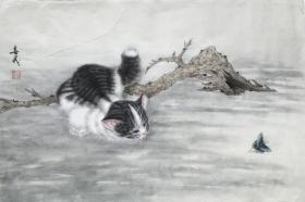 ◆【顺丰包邮】【米春茂】国家一级美术师、中美协会员、河北美协会员、沧州美协理事长、手绘四尺三开工笔猫(69*46cm)3买家自鉴.