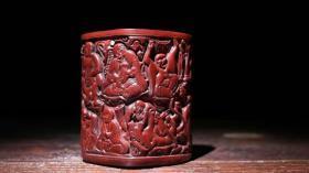 漆器 剔红漆器十八罗汉笔筒 B