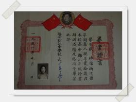 请看1951年【苏南松江中学高中毕业证书】  品佳   见图