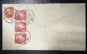 区票实寄封,1950年天津寄英国伦敦,航空,贴华北生产图5000元三连、改1八百元,盖7月10日天津戳