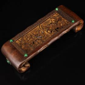 古董收藏珍藏老木头纯手工打造雕刻镶嵌宝石磨床N