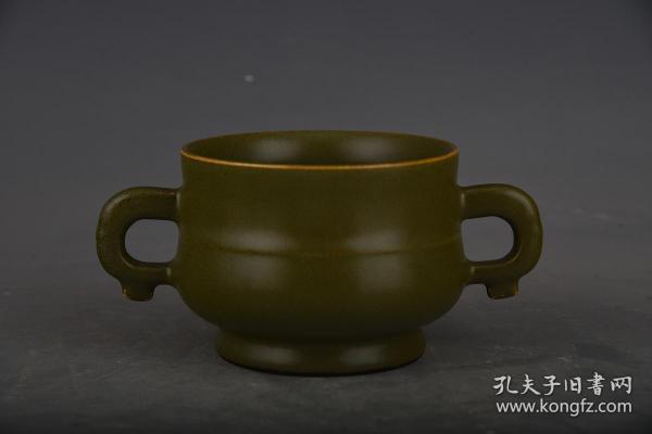 清乾隆茶葉末釉香爐。