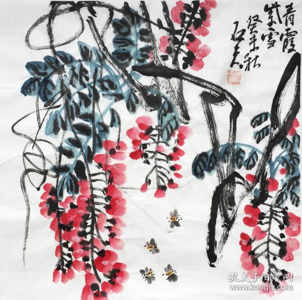 ◆【顺丰包邮】【纯手绘】【郭石夫】国家一级美术师、中美协会员、手绘四尺斗方写意花鸟(68*68cm)3买家自鉴.