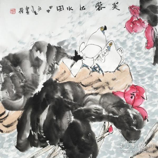 ◆【顺丰包邮】、【江文湛】西安中国画院副院长、一级美术师、中国美协会员、手绘四尺斗方花鸟画(68*68CM)1买家自鉴.