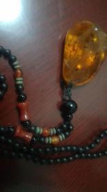 琥珀吊坠带珠子挂链儿