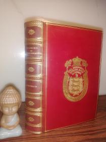 1914年 STORIES OF CHARLEMAGNE BY CHURCH.MA 含彩色插图 有2张学校书票  全皮装帧 双面烫金饰图  19.3X13.5CM