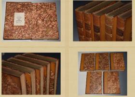1884年  Memoirs of Sir Nathaniel William Wraxall 5本全  半皮装帧  含20副左右插图  书顶刷金  私坊Morrell装帧  每本均有一副藏书票  23X16CM