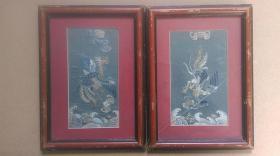 """清代时期贵妇衣服部分留存""""凤凰、蝠、海水云纹""""手工绣丝质衣服补子一对"""