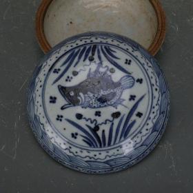 明代青花鱼草纹印泥盒
