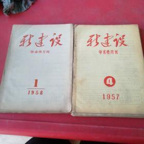 新建设(学术性月刊)1957年4、6、8、12期+1958年1、2、3期共7本合售