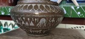 清代错银大铜罐、铜质细腻、造型精美、做工大气、小磕碰、厚胎非常值得收藏。
