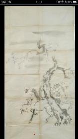 清代画稿《树下三俊图》纸本单片,尺寸:117x60cm。