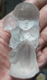 水晶娃娃磨砂玻璃女孩人偶公主抱狗狗