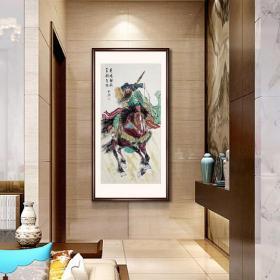 手绘真品 【R3751】关公图 《英明神威 百战百胜》尺寸138-68厘米,主图有框效果展示,未装裱画心发货,终身保真。