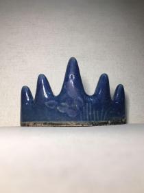 清代 霁蓝釉五峰笔架长9.6高6cm。堆竹纹图,文房雅具。全美品相。