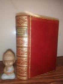 The Poetical Works of LONGFELLOW  含9副插图  全皮装帧 金色竹节书脊  三面刷金 18.8X12.6CM