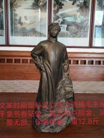 文革塑料实心毛主席站像,《苍茫大地谁主浮沉?毛泽东》,自然老旧,时代特征明显,完整无损,保老保真,收藏价值高。